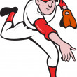 Baseball Player Pitcher Throwing Cartoon - Vettoriali Stock