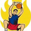 Basketball Player Dunking Ball - Stock Vector