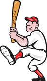 Desenhos animados rebatidas de jogador de beisebol norte-americano — Vetorial Stock