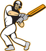 Cricket Player Batsman Batting — Stock Vector