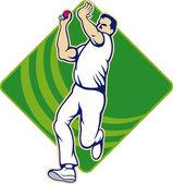 Cricket Bowler Bowling Ball Front — Stock Vector