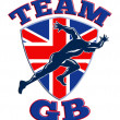 Team GB Runner Sprinter Great Britain Flag — ストック写真