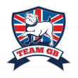 Team GB English bulldog Great Britain mascot — Foto Stock