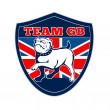 Team GB English bulldog Great Britain mascot — Stock fotografie