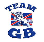Team GB Lion attacking GB British union jack flag — Stock Photo
