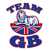 Team GB Lion sitting GB British union jack flag — Stock Photo