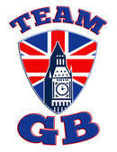 Team GB Big Ben tower clock Great Britain Flag — Stock Photo