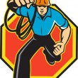 Electrician Worker Running Electrical Plug - Stock Vector