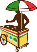 Italian Ice Push Cart Retro — Stock Vector