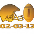 Golden american football helmet ball 2013 — Stock Photo