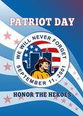 Dia do patriota americano lembra 911 cartaz cartão — Foto Stock