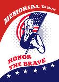 Tarjeta de felicitación de cartel patriota americano día conmemorativo — Foto de Stock