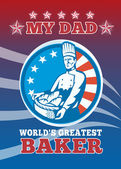 My Dad World's Greatest Baker Greeting Card Poster — Stock Photo