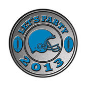 American football helmet lets party 2013 — Stock Photo