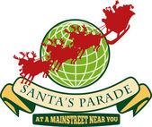 圣诞老人圣诞全球驯鹿 — 图库矢量图片