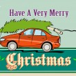 Постер, плакат: Merry Christmas Tree Car Automobile