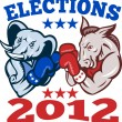 Royalty-Free Stock Vector Image: Democrat Donkey Republican Elephant Mascot 2012