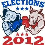 Democrat Donkey Republican Elephant Mascot 2012 — Stock Vector