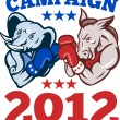 Stock Vector: Democrat Donkey RepublicElephant Campaign 2012