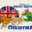 Great British Christmas Santa Reindeer Doube Decker Bus - Stock Vector