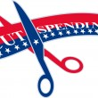 Cut Spending Scissors Cutting Bill — Vector de stock