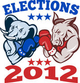 Democrat Donkey Republican Elephant Mascot 2012 — Stock Vector