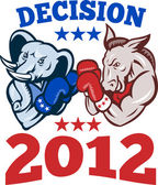Democrat Donkey Republican Elephant Decision 2012 — Stock Vector