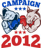 Democrat Donkey Republican Elephant Campaign 2012 — Stock Vector