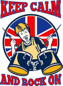 Mantener calma rock en bandera británica tambores abuela reina — Vector de stock
