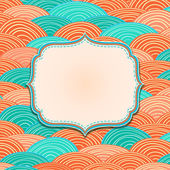 Greeting Card with Label and Ocean Waves — Stock Vector