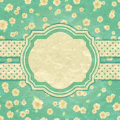 Romantic Green Retro Card — Stock Vector