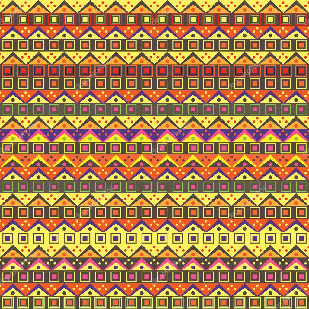 Abstract African Native Seamless Pattern. Vector Yellow Purple Background  Stock Vector #10830834