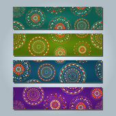 Bannière serti ronds éléments abstraits — Vecteur