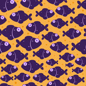 Purple Fish Seamless Pattern — Stock Vector