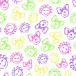 Seamless Pattern with Cute Colorful Kid Faces — Stock Photo