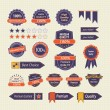 Set of Retro Quality Labels Badges — Stock Vector