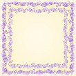 Purple Leaf Frame on Yellow Background — Stockvectorbeeld