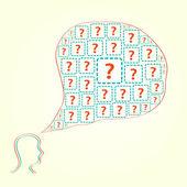 Silueta lidské hlavy s otázkou ikon — Stock vektor