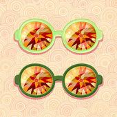 óculos retrô com reflexão floral — Vetor de Stock