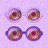 Violet Frame with Abstract Flower Glasses — Stock Vector