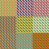 Mosaic Seamless Pattern Set — Stock Vector