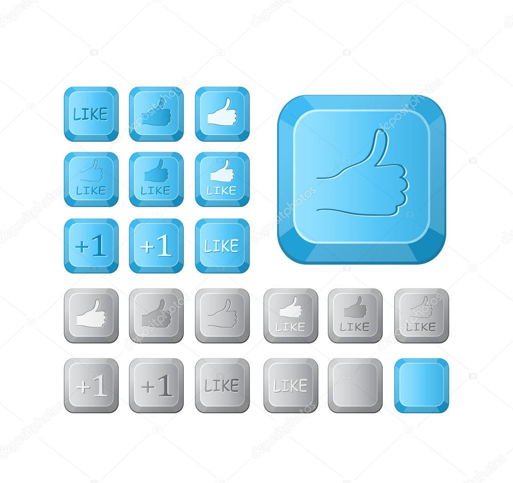 Thumbs up and like symbol on computer button key. Vector icon set — Stock Vector #11603783