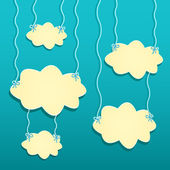 Yellow Clouds Hanged by White Threads — Stock Vector