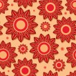 Vector de stock : Beautiful Red Flower Seamless Pattern