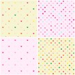 Set of Polka Dot Heart Seamless Patterns — Stock Vector