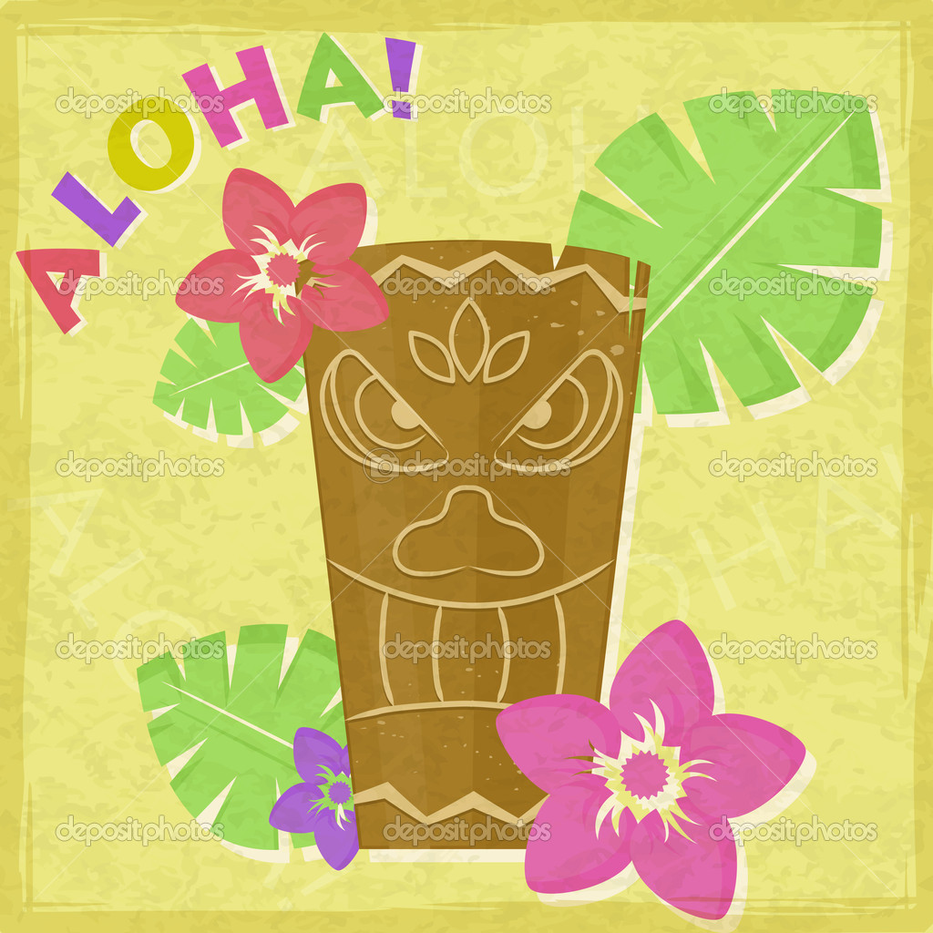 Vintage Vacation Retro Aloha Card with Totem and Flowers — Stock Vector #12298004