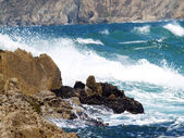 Wild Waves In Bay Against Rocky Shore Line — Stock Photo
