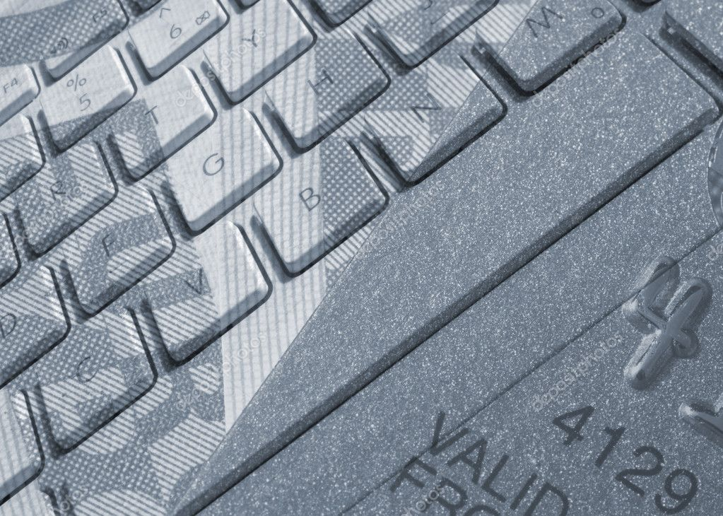 Closeup of laptop keyboard overlaid with Euros banknote and credit card — Stock Photo #12230700