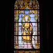Santa Christina Stained Glass Window - Stock Photo