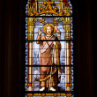 Stained Glass Window in San Jeronimo el Real - Stock Photo